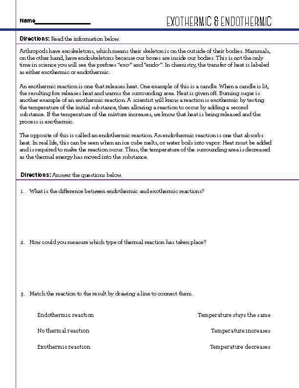 Free STEM Worksheets – Endothermic Exothermic Worksheet